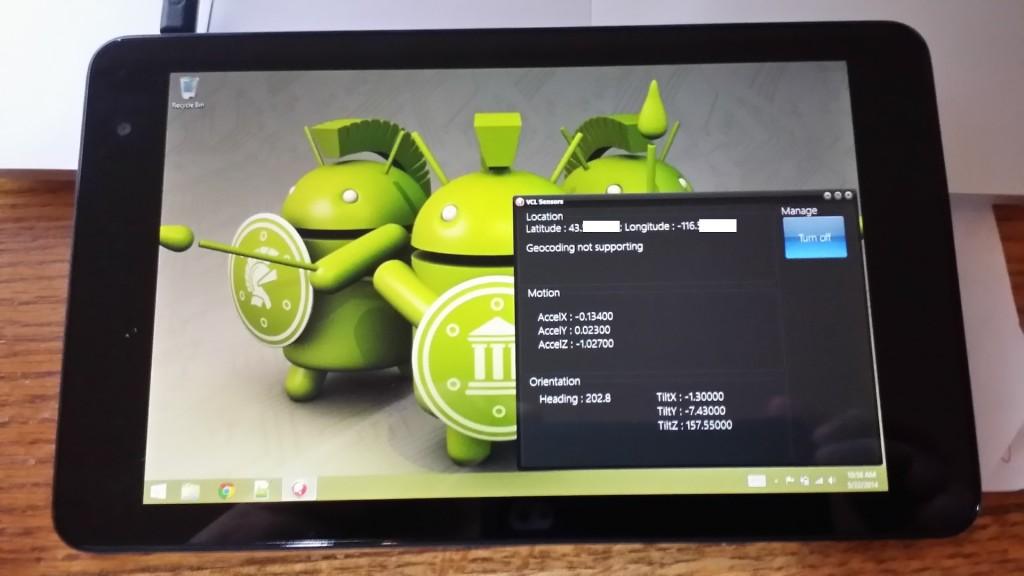 VCL Sensors on Dell Venue 8 Pro