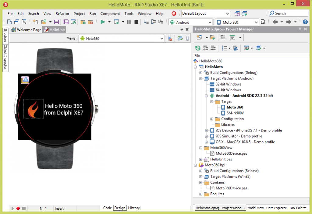 Hello Moto 360 in the XE7 IDE
